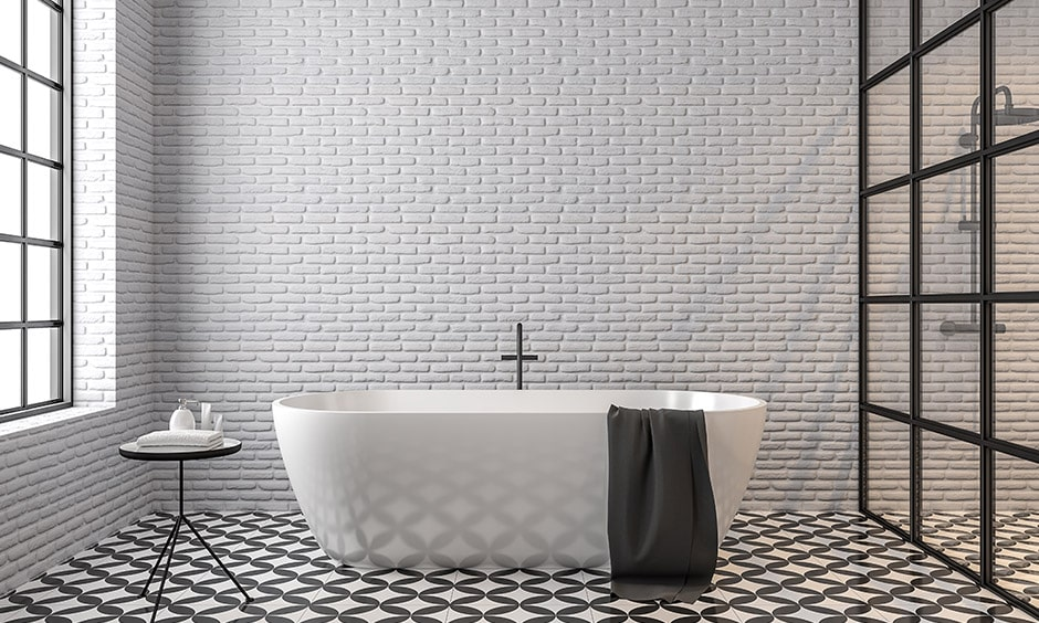Modern black and white bathroom design with wall tiles and beautiful black and white bathroom floor tiles
