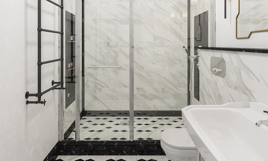 Use more white and less black floor tiles makes your bathroom design looks brightly