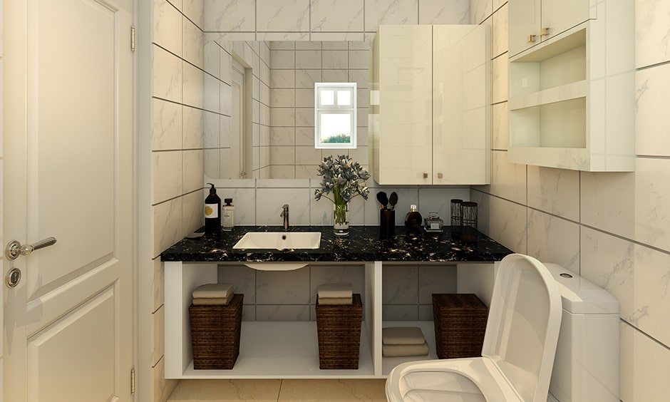 Black and white bathroom design ideas with a patterned black and white marble counter