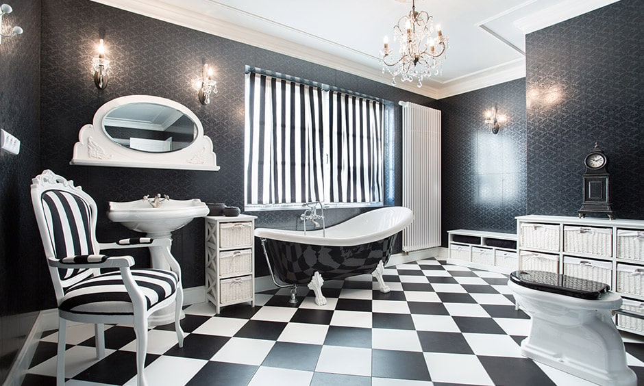 Vintage black and white bathroom ideas with black and white floor tiles