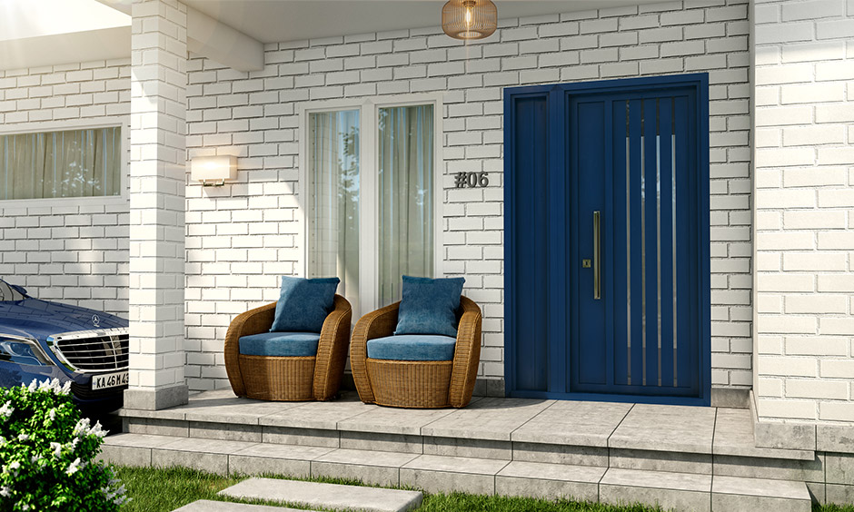 Front door paint color ideas with navy blue which makes a classic statement for the old school types