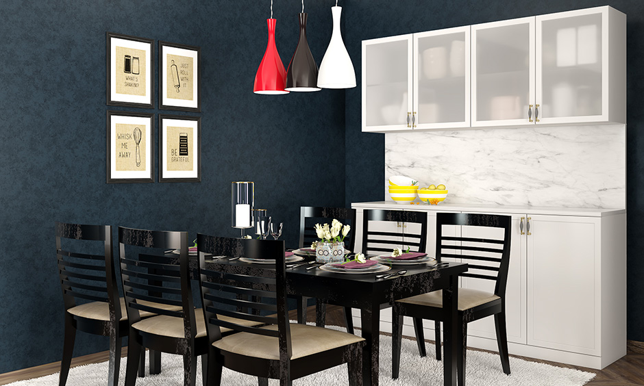 Hanging lights for the dining room in solid red, black and white are the perfect match for rectangle dining tables.