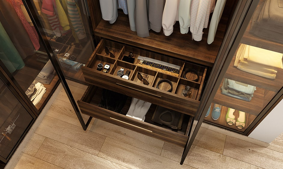 Accessory trays as compartment for wardrobe or section to store belts, ties, scarves, earrings, shades to keep all your accessories organised
