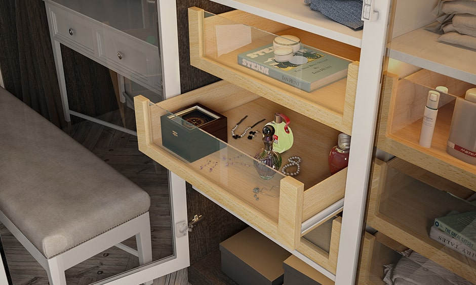 Use glass drawers as a compartment for wardrobe to keep your everyday essentials - innerwear, socks, daily watch