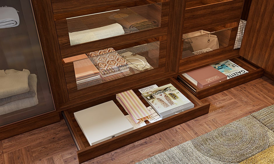 Your compartment for wardrobe with skirting drawers to keep your invoices, warranty cards, paper bags, extra stationary etc
