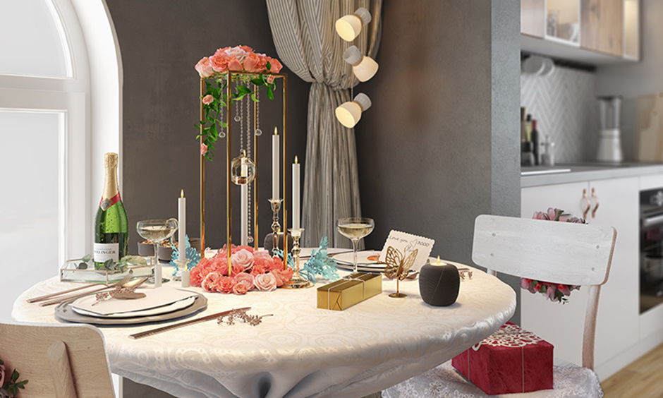 Mother's day decorations with gorgeous white wood dining tables bring a rustic modern tone against grey walls.