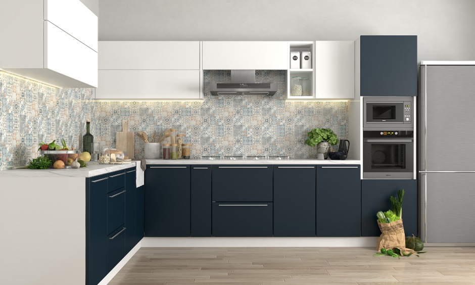 Blue and white modular kitchen design with pull out drawers for modern kitchen interiors in bangalore