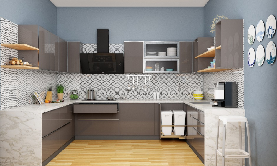 Modular kitchen design images in u shaped kitchen interior layout with cabinets and drawers
