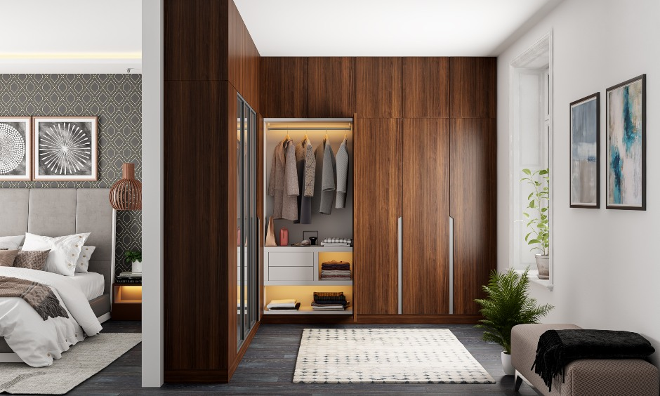 Wardrobe design from floor to ceiling wooden wardrobe interior design with drawers and shelves