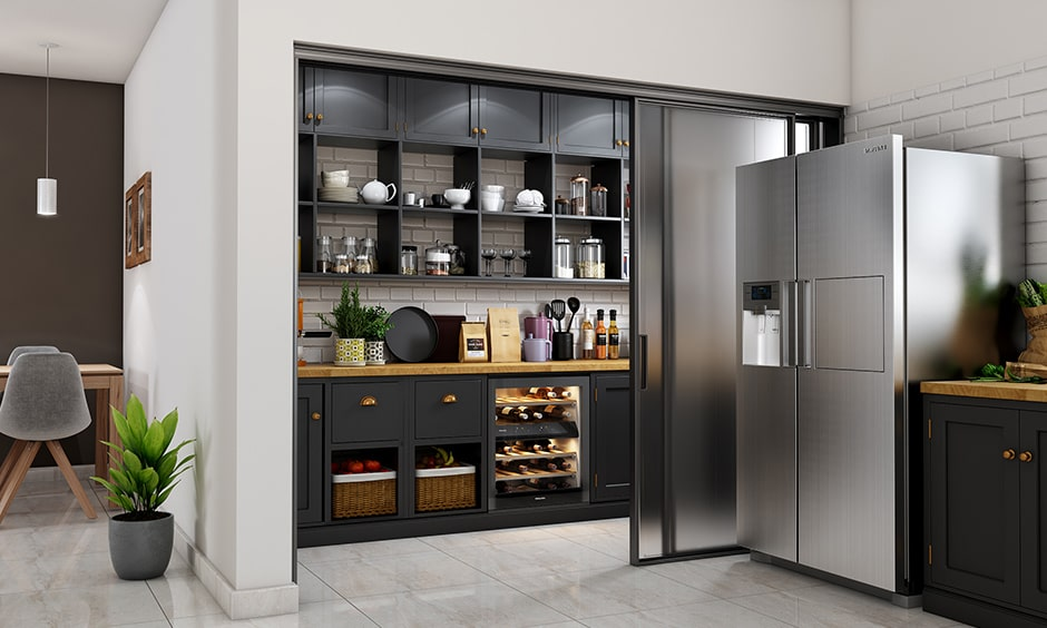 Walk-in kitchen pantry design for large home to store all your groceries, staples, utensils