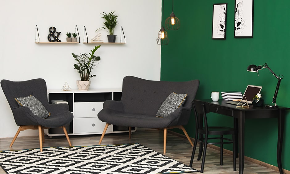 Green living room walls create a minimalist style living room design