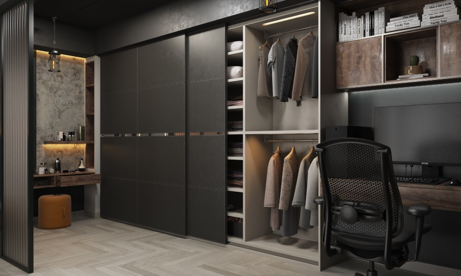 Bedroom interior images in industrial style bedroom with cabinets and shelves for storage in wardrobe design