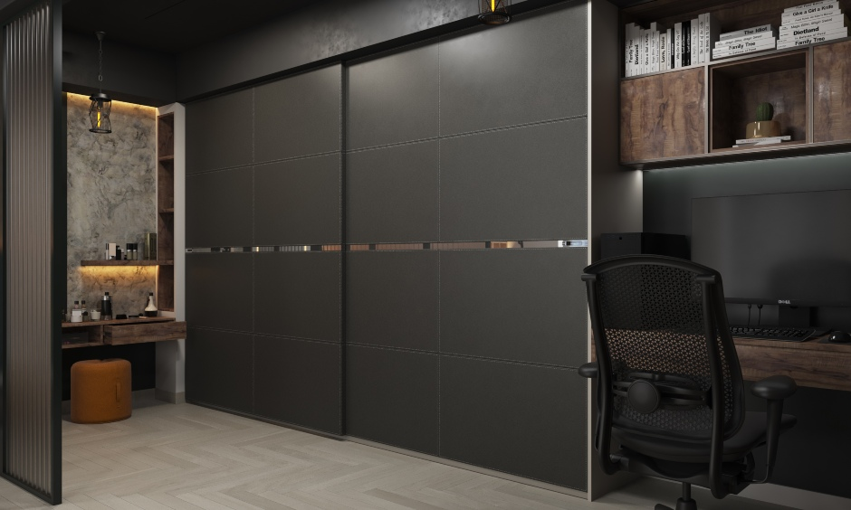 Latest bedroom interior designs in industrial style with study table attached walk-in wardrobe