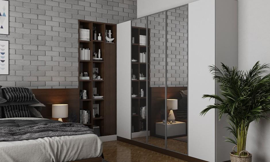 Bedroom Interior design with brick wall cladding wardrobe storage for bedroom designs india