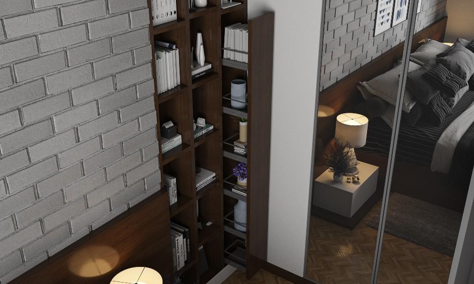 Bedroom Interior design with Open Shelves Hidden Space Saving storage solutions.
