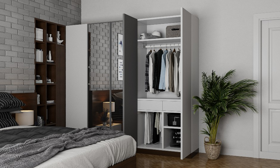 Bedroom Wardrobe interior design online for Bangalore Mumbai and Hyderabad.