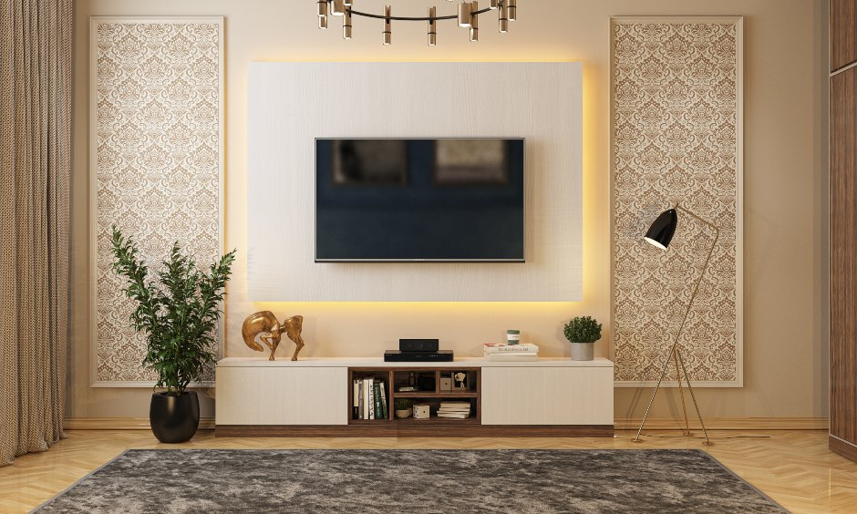 Bedroom tv unit design with backlit panel for Bangalore Mumbai and Hyderabad