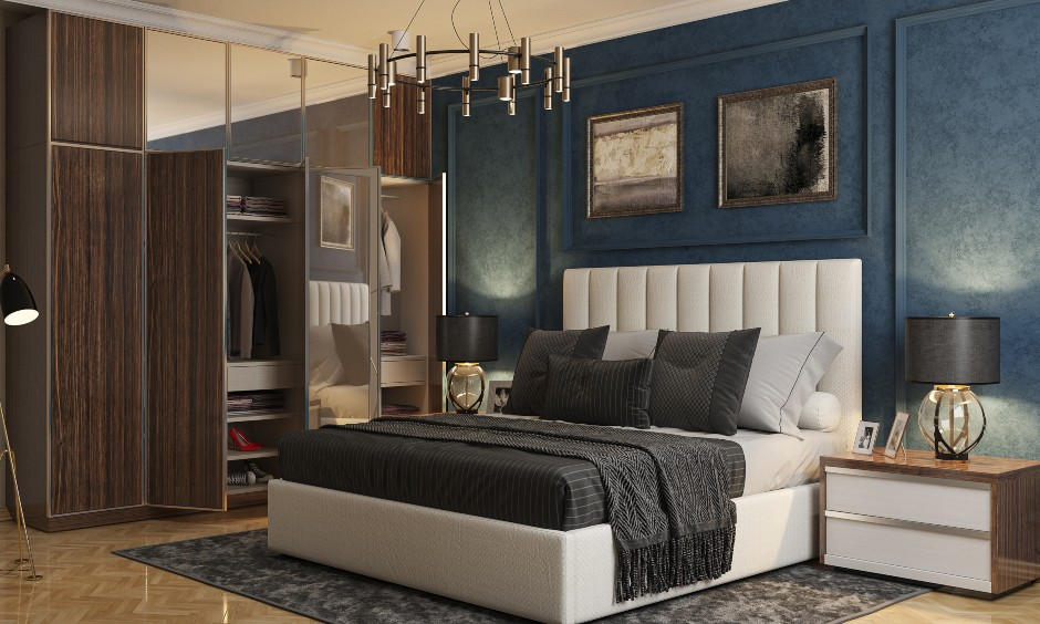 Bedroom design in Blue and white with brown wardrobe and modern bed design for Indian bedrooms