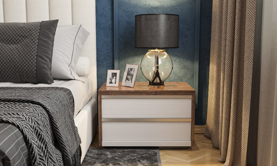 Bedroom interior design online with side table and storage options in White and Blue in India.