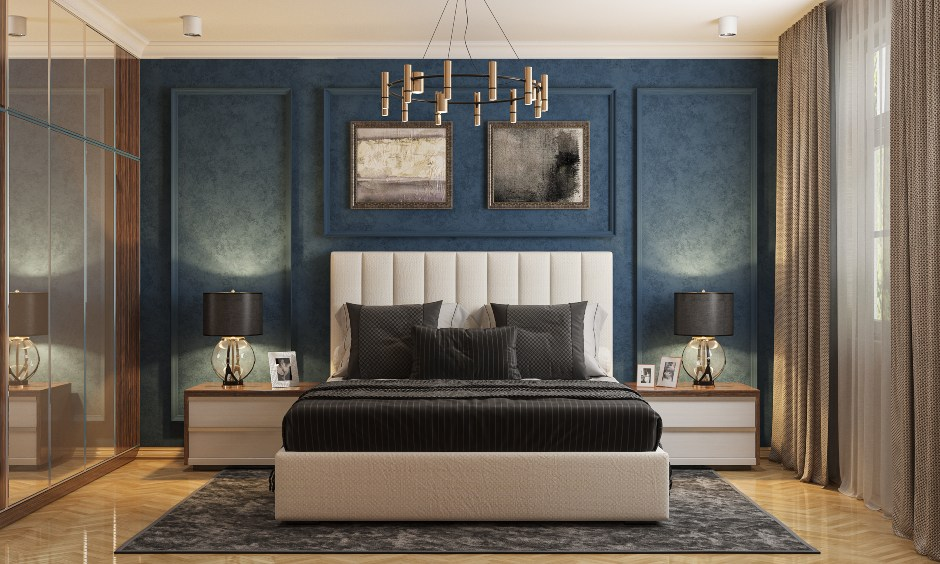 Bedroom Interior design in Blue and White with Modern bed design in India.