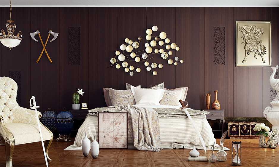 Master bedroom color ideas with shade of dark brown wooden finish and a rustic touch