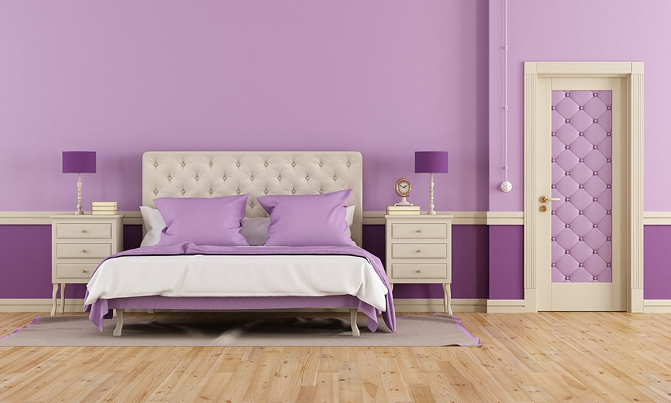 Pastel purple bedroom with a shade of lavender and lilac gives a classic look into purple bedroom images