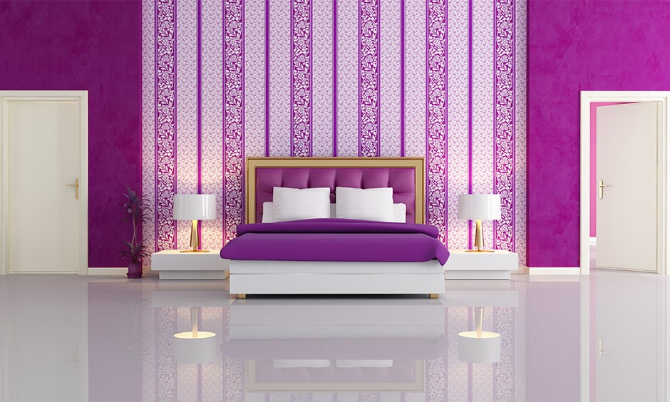 Purple colour combination for bedroom with a purple and white bedroom