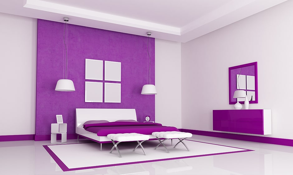 Purple two colour combination for bedroom walls with white interiors perfect for purple bedroom design