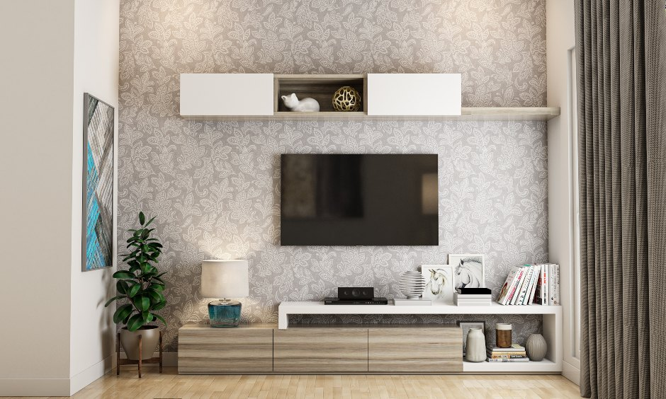 Living room design with a sleek tv unit with shelves and cabinets gives storage in your living room interior