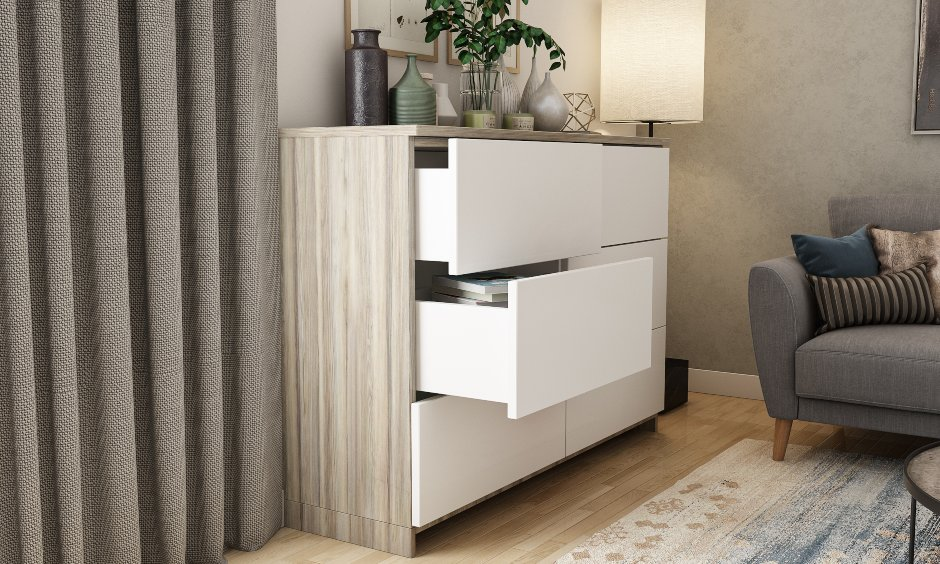 Living room interior design with storage solution with open drawers in hall interior design