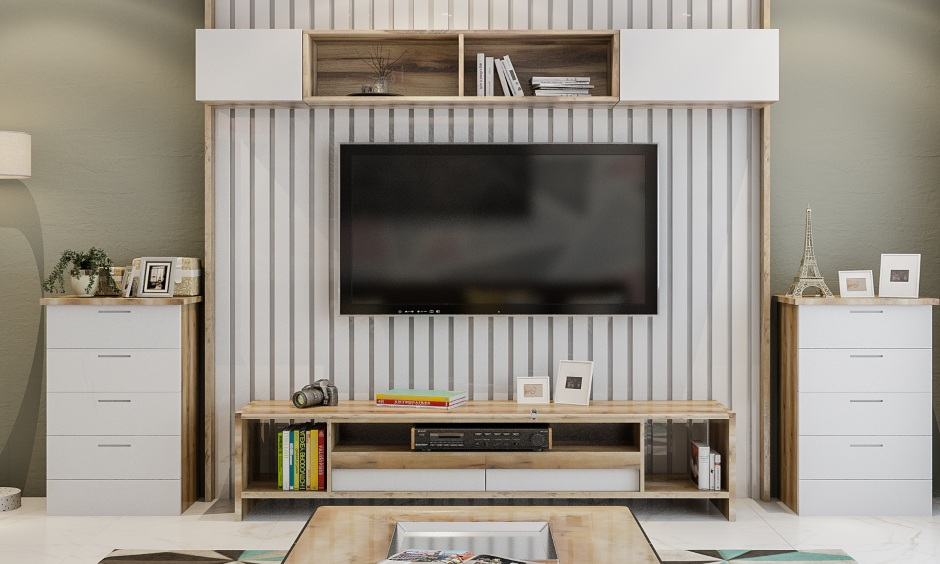 Living room design with a tv unit with vertical wood panelling and open shelves for display