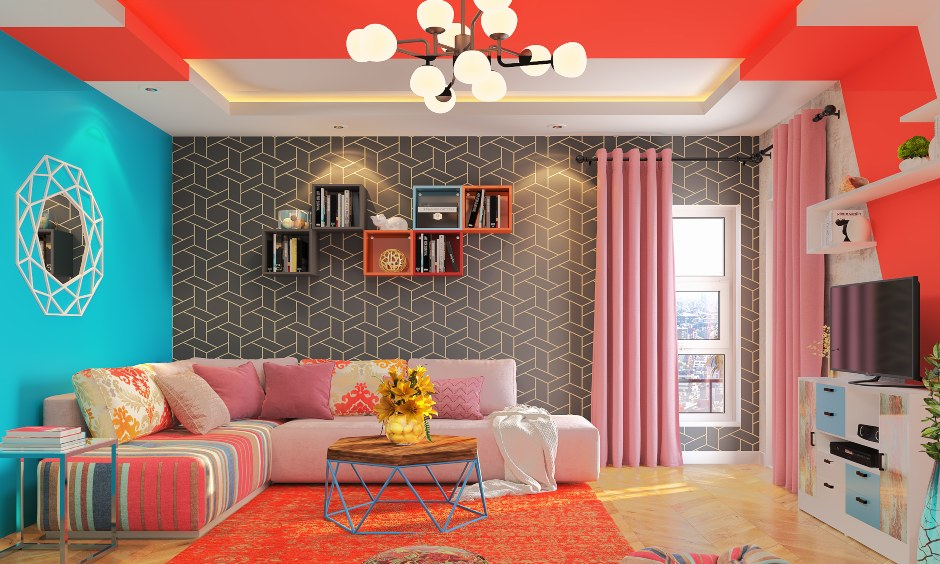 Living room design in modern eclectic style living room with bookshelves, false ceiling design and bright pastels