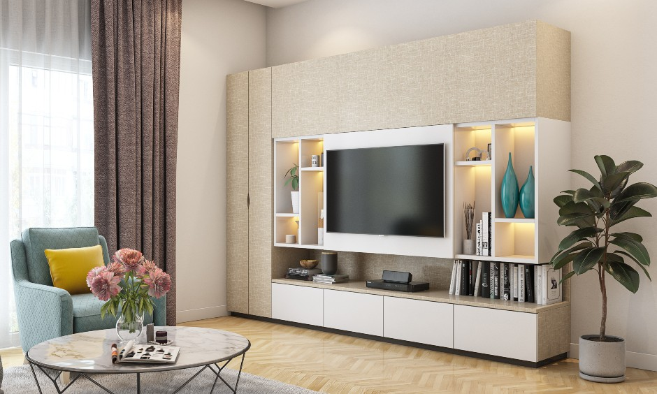 Living room interior design in modern style with false ceiling, tv unit design