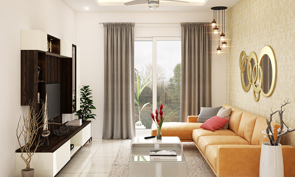 Yellow room ideas with a l-shaped sofa design in your living room design