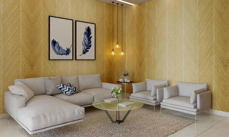 Sunshine shade yellow room colour uplifts the vibe of your yellow living room.