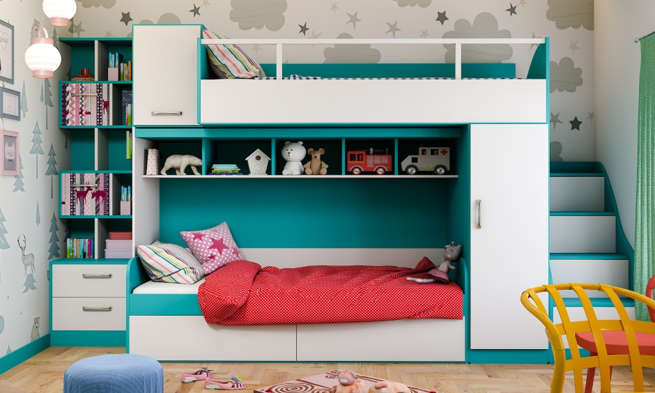 Kids bedroom design in modern eclectic style with bunk beds for kids