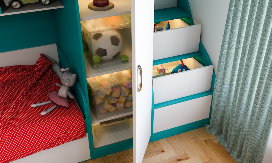 Kids bedroom interiors in modern eclectic style with space saving storage staircase design