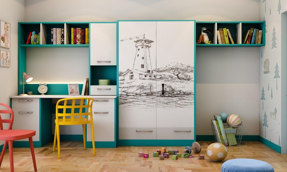 Kids bedroom interior design with bookshelf and open storage