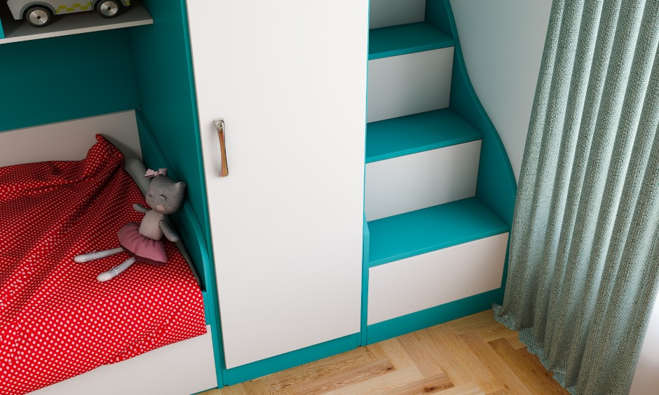 Kids bedroom design in modern eclectic style images with staircase design