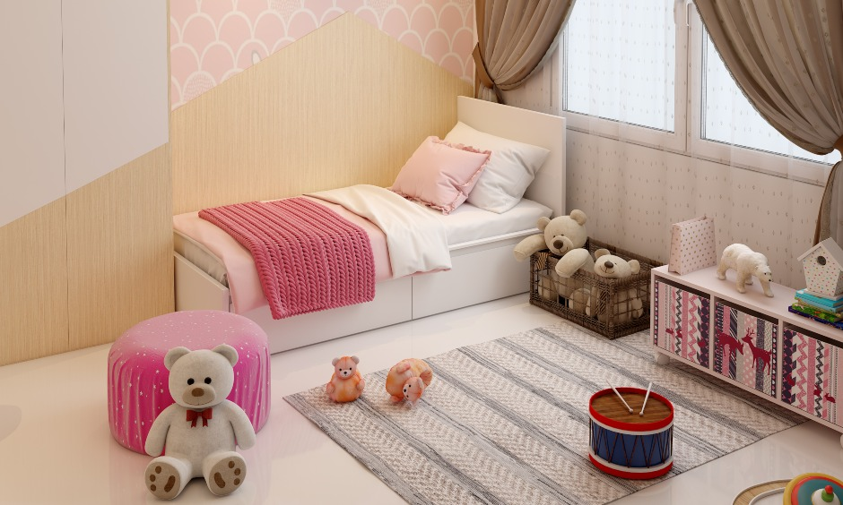Little girls bedroom design with a cabinet for toys storage