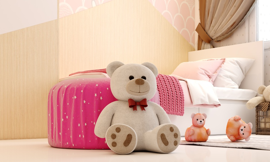 Girl bedroom with a single bed is suitable for teen girl bedroom design