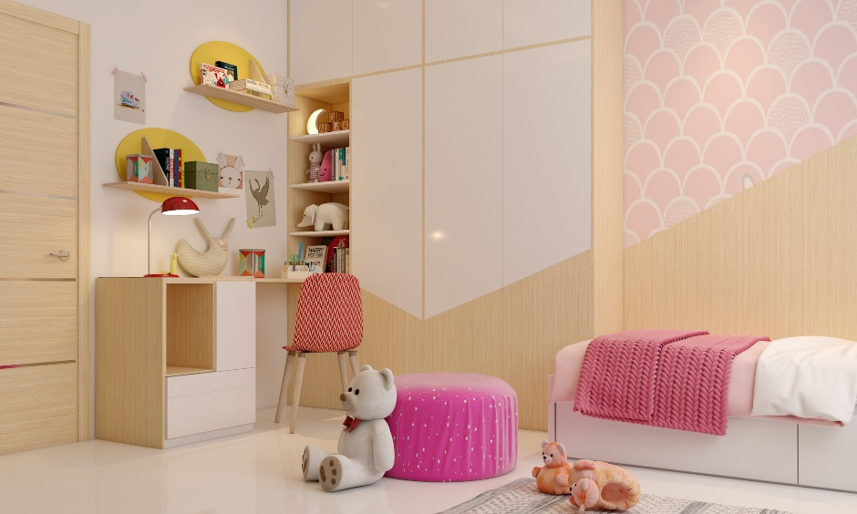 Teen girl bedroom images with a study unit with an attached wardrobe