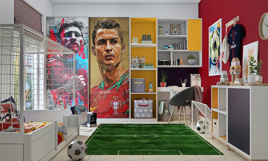 Kids bedroom interior design in bangalore,mumbai and hyderabad with football inspired theme