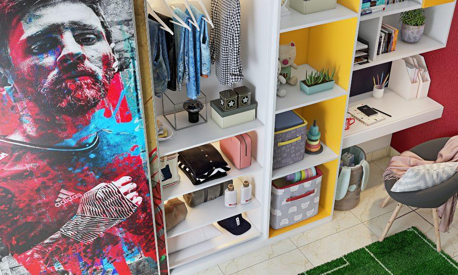 Football inspired themed children bedroom design with storage sliding door wardrobe