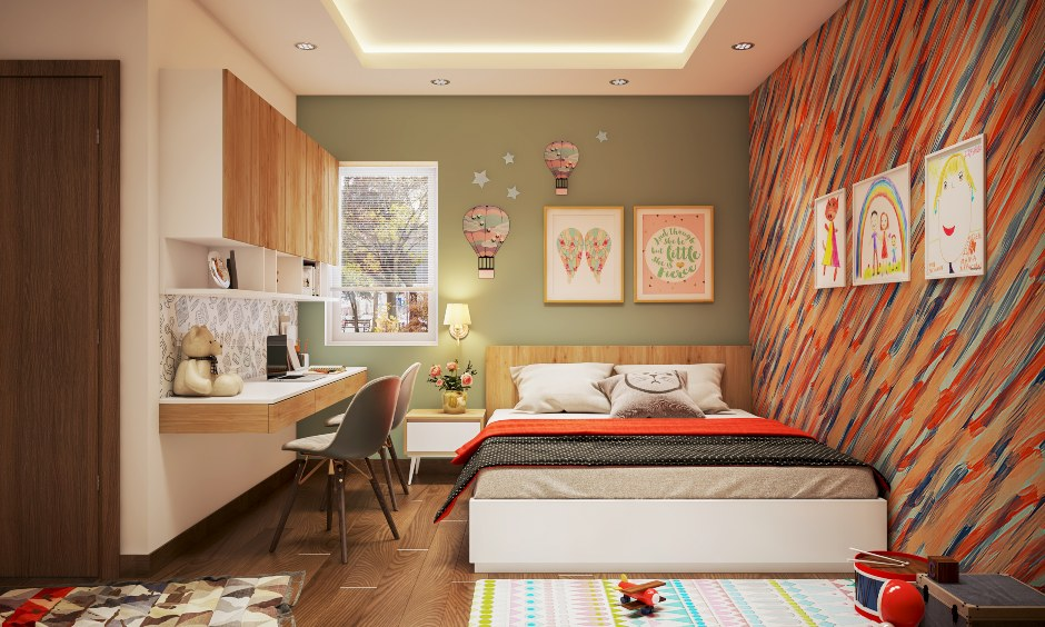 Kids bedroom design with a multicolored wall and a queen size bed