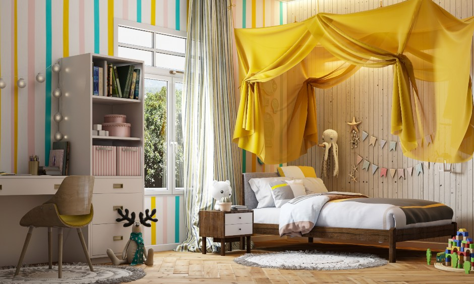 Kids room design with a single bed and a bright yellow canopy