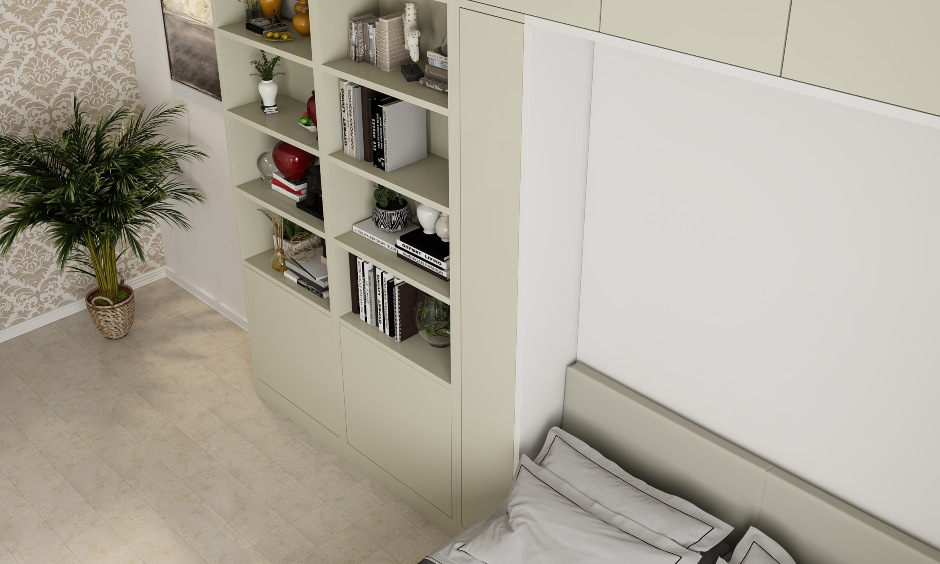 Smart storage cabinets and open shelves designed to save space in small bedrooms.