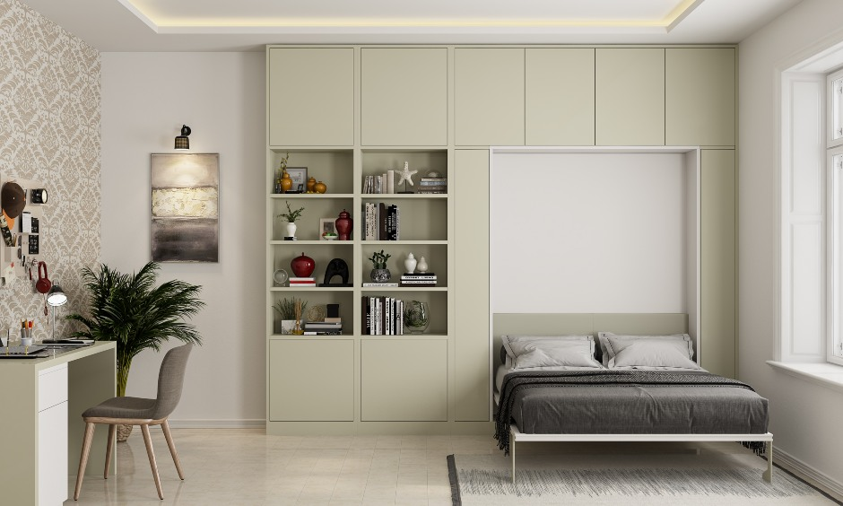 Space saving furniture design for bedroom with a murphy bed