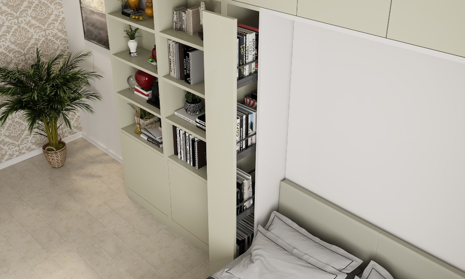 Innovative space saving furniture with a pull out bookshelf for small indian bedroom in Bangalore