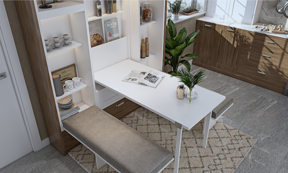 Multifunctional furniture with a crockery unit that has a foldable dining table and bench seating